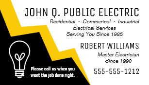light bulb lightning bolt electrician electrical business card - Electrician Business Cards