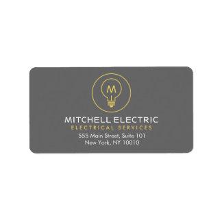 LIGHT BULB MONOGRAM LOGO for ELECTRICANS Address Label