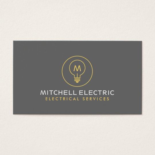 LIGHT BULB MONOGRAM LOGO For ELECTRICANS Business Card