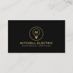Electrical business cards zazzle light bulb monogram logo on black for electricans business card colourmoves