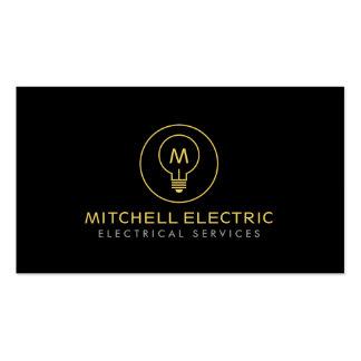 LIGHT BULB MONOGRAM LOGO on BLACK for ELECTRICANS Business Cards