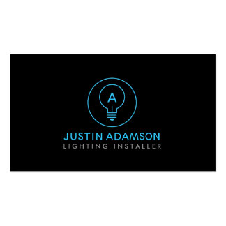 LIGHT BULB MONOGRAM LOGO on BLK II for ELECTRICANS Business Card Template