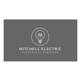 LIGHT BULB MONOGRAM LOGO on GRAY for ELECTRICANS Double-Sided Standard Business Cards (Pack Of 100)