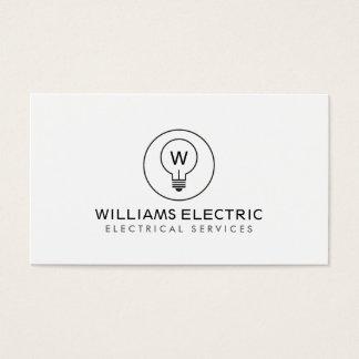 LIGHT BULB MONOGRAM LOGO on WHITE for ELECTRICANS Business Card