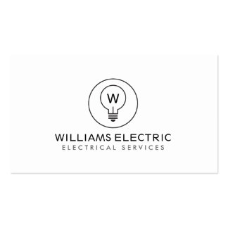 LIGHT BULB MONOGRAM LOGO on WHITE for ELECTRICANS Business Card Template