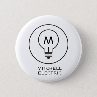 LIGHT BULB MONOGRAM LOGO on WHITE for ELECTRICANS Pinback Button