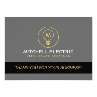LIGHT BULB MONOGRAM LOGO Thank You Card