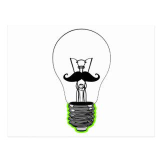 Light Bulb Moustache Postcard