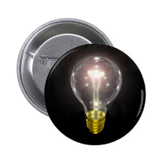 light bulb on blk 3 inch flare pinback button