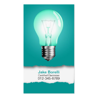 Light Bulb Turquoise Business Card