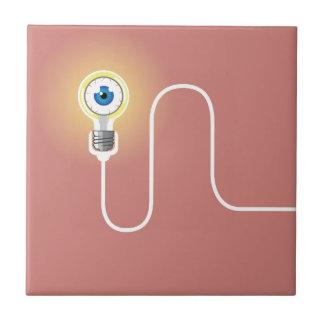 Light Bulb with an Eyeball Vector Ceramic Tile