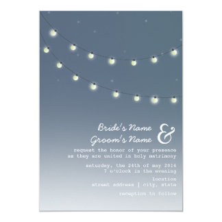 "Light Bulbs Evening Wedding Invitation 5"" X 7"" Invitation Card"