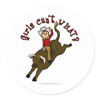 Light Bull Rider Classic Round Sticker