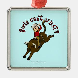 Light Bull Rider Metal Ornament
