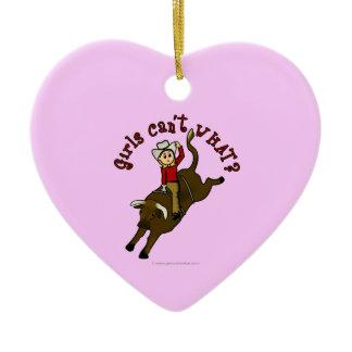 Light Bull Rider Double-Sided Heart Ceramic Christmas Ornament