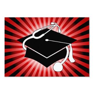 light burst medical graduation cap 3.5x5 paper invitation card