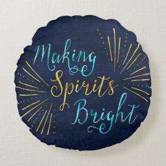 Light Burst Typography Holiday Round Pillow