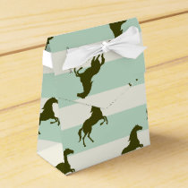 Light Celadon Green and Brown Horse Pattern Favor Box