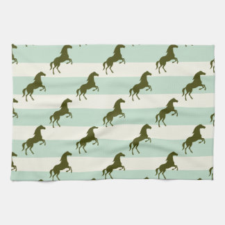 Light Celadon Green and Brown Horse Pattern Kitchen Towel