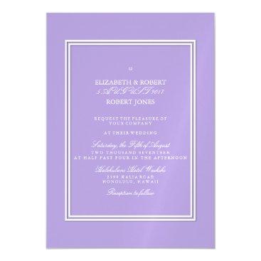 Beach Themed Light Chalky Pastel Purple Wedding Invitation Set