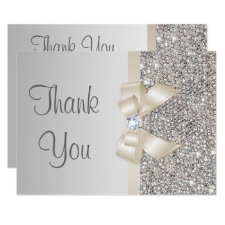 Light Champagne Bow Silver Sequins Thank You Card