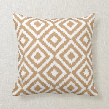 Aztec Themed Light Coffee Brown Ikat Square Mosaic Pattern Throw Pillow