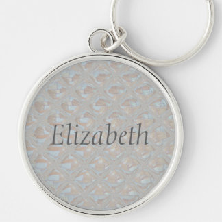 Light Colored Abstract Pattern Silver-Colored Round Keychain