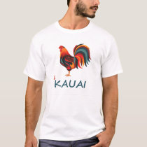 Light colored Hawaiian T-shirt Kauai Wild Rooster
