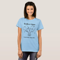 Light colored ladies tee with Maia & Guida