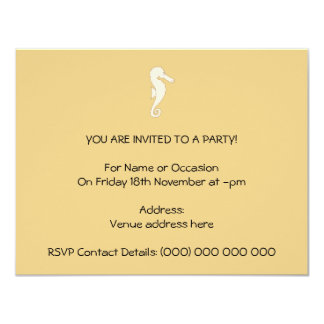 Light Colored Seahorse on Gold Color Background Card