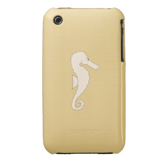 Light Colored Seahorse on Gold Color Background Case-Mate iPhone 3 Case