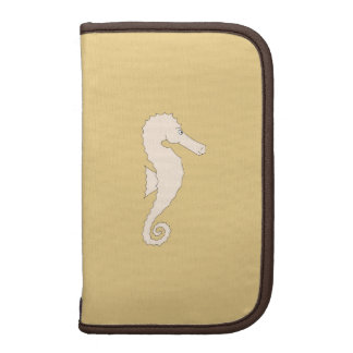 Light Colored Seahorse on Gold Color Background Folio Planners