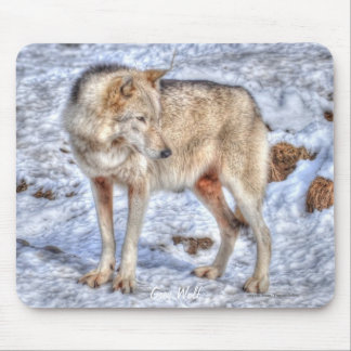 Light-coloured Grey Wolf & Winter Snow Mouse Pad