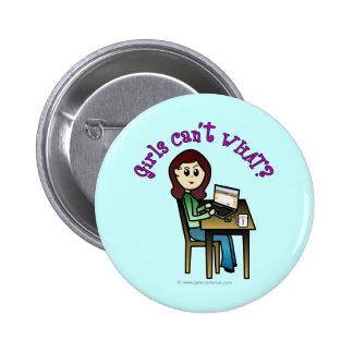 Light Computer Girl Pinback Button