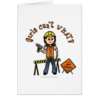 Light Construction Girl Card