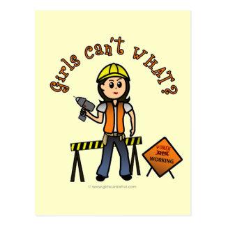 Light Construction Girl Postcard