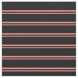 [ Thumbnail: Light Coral and Black Colored Lined Pattern Fabric ]