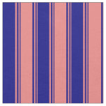 [ Thumbnail: Light Coral and Blue Colored Lines Fabric ]