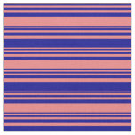[ Thumbnail: Light Coral and Dark Blue Lined Pattern Fabric ]