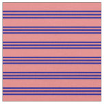 [ Thumbnail: Light Coral and Dark Blue Stripes/Lines Pattern Fabric ]