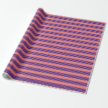 [ Thumbnail: Light Coral and Dark Blue Stripes/Lines Pattern Wrapping Paper ]