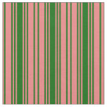 [ Thumbnail: Light Coral and Dark Green Lines/Stripes Pattern Fabric ]