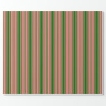 [ Thumbnail: Light Coral and Dark Green Lines/Stripes Pattern Wrapping Paper ]