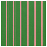 [ Thumbnail: Light Coral and Dark Green Stripes Pattern Fabric ]