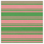 [ Thumbnail: Light Coral and Forest Green Pattern of Stripes Fabric ]