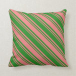 [ Thumbnail: Light Coral and Forest Green Pattern of Stripes Throw Pillow ]