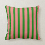 [ Thumbnail: Light Coral and Green Colored Lined Pattern Pillow ]