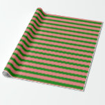 [ Thumbnail: Light Coral and Green Colored Lined Pattern Wrapping Paper ]