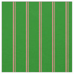 [ Thumbnail: Light Coral and Green Colored Stripes Fabric ]