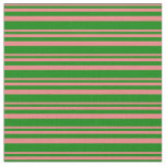 [ Thumbnail: Light Coral and Green Lines/Stripes Pattern Fabric ]